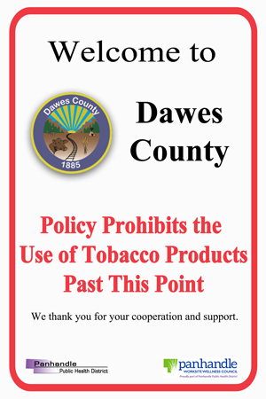Dawes County Tobacco Free Sign